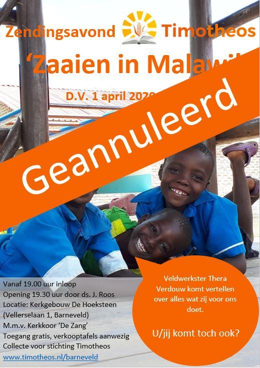 GEANNULEERD   Zendingsavond Timotheos – Thera Verdouw  'Zaaien in Malawi'